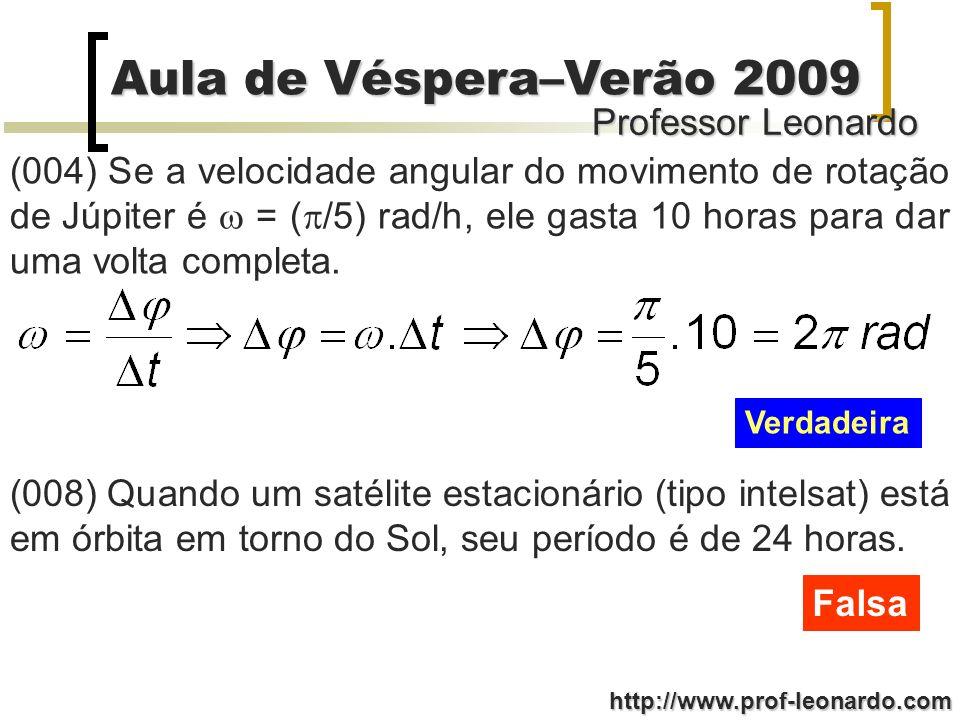 Professor Leonardo Aula de Véspera–Verão 2009 http://www.prof-leonardo.com (004) Se a velocidade angular do movimento de rotação de Júpiter é = ( /5)
