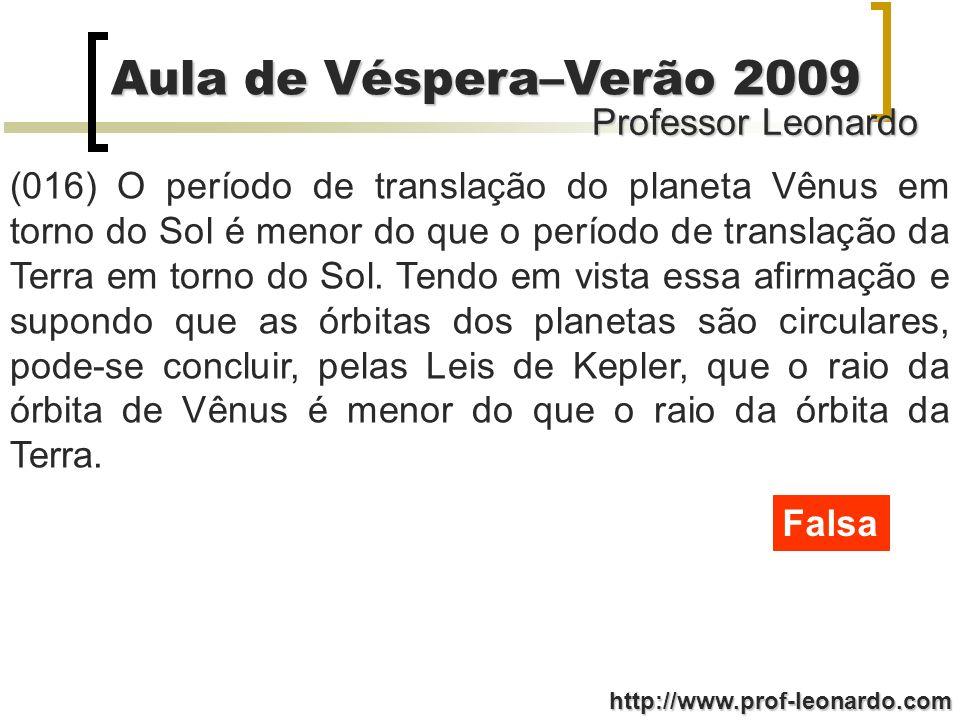 Professor Leonardo Aula de Véspera–Verão 2009 http://www.prof-leonardo.com (016) O período de translação do planeta Vênus em torno do Sol é menor do q