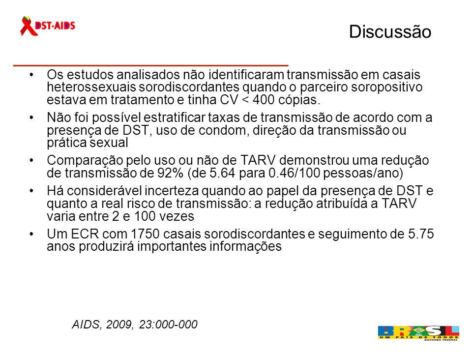 Discussão Os estudos analisados não identificaram transmissão em casais heterossexuais sorodiscordantes quando o parceiro soropositivo estava em trata