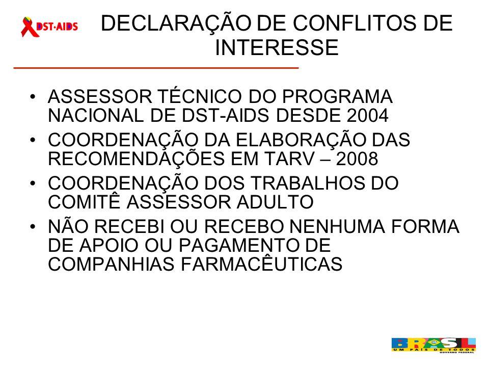 DECLARAÇÃO DE CONFLITOS DE INTERESSE ASSESSOR TÉCNICO DO PROGRAMA NACIONAL DE DST-AIDS DESDE 2004 COORDENAÇÃO DA ELABORAÇÃO DAS RECOMENDAÇÕES EM TARV