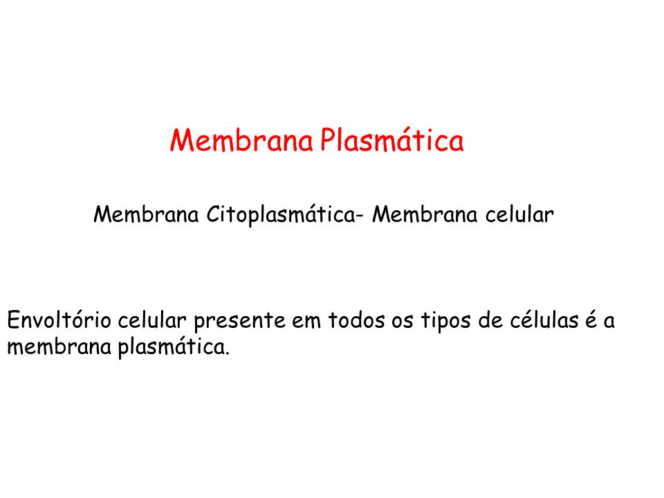 Membrana Plasmática Membrana Citoplasmática- Membrana celular Envoltório celular presente em todos os tipos de células é a membrana plasmática.