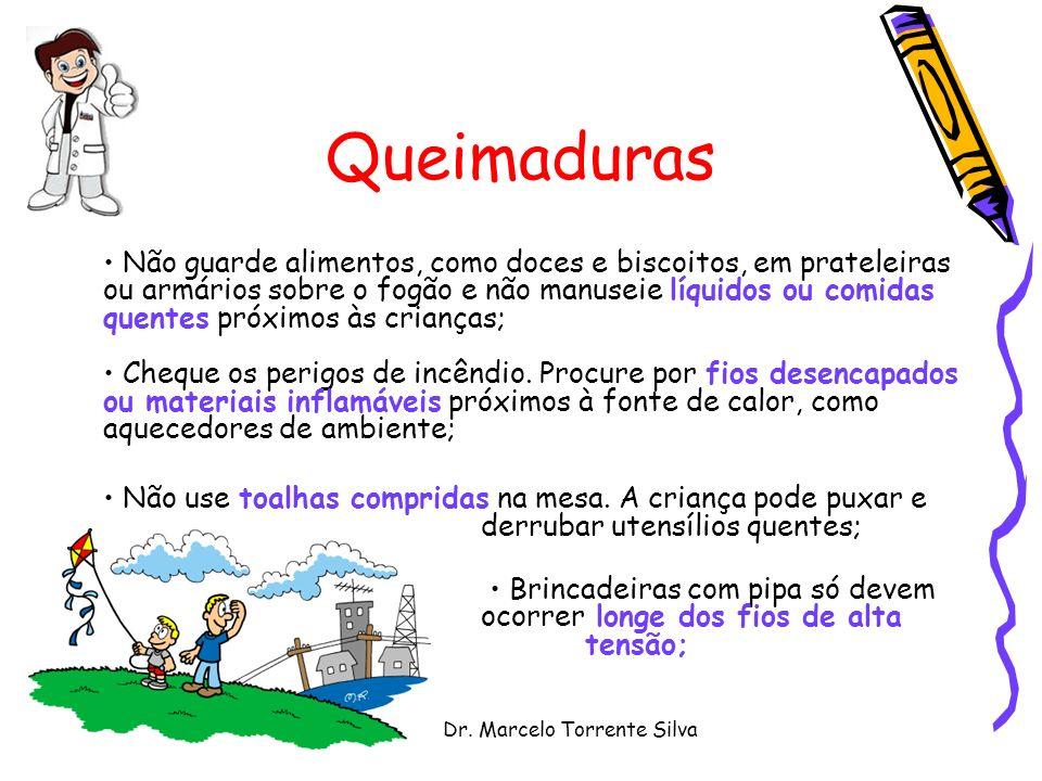 Dr. Marcelo Torrente Silva Queimaduras Não guarde alimentos, como doces e biscoitos, em prateleiras ou armários sobre o fogão e não manuseie líquidos