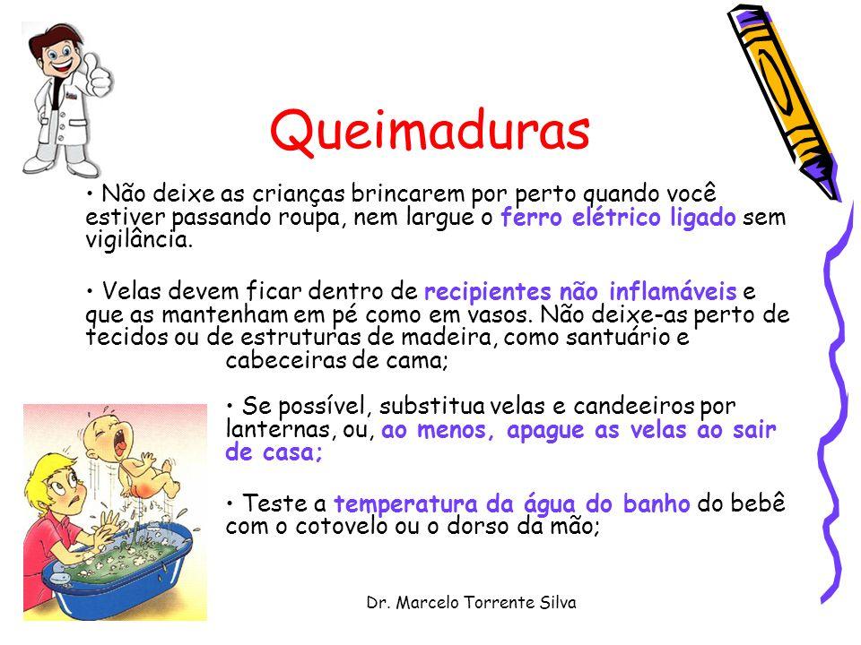 Dr. Marcelo Torrente Silva Queimaduras Não deixe as crianças brincarem por perto quando você estiver passando roupa, nem largue o ferro elétrico ligad