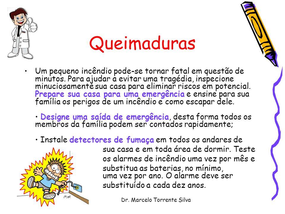 Dr. Marcelo Torrente Silva Queimaduras Um pequeno incêndio pode-se tornar fatal em questão de minutos. Para ajudar a evitar uma tragédia, inspecione m