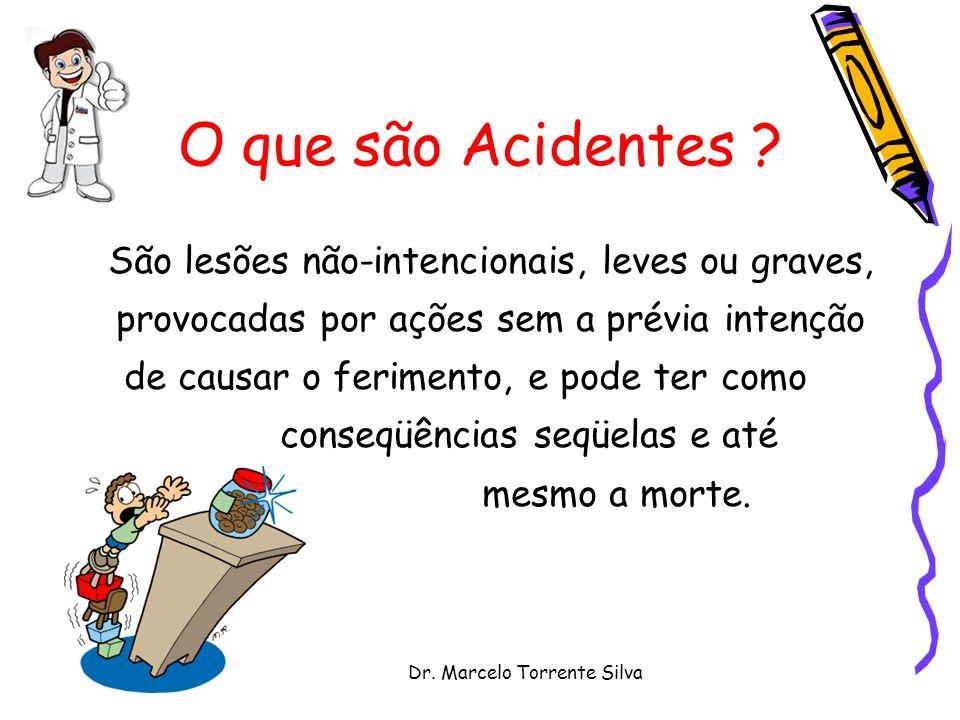 Dr. Marcelo Torrente Silva O que são Acidentes ? São lesões não-intencionais, leves ou graves, provocadas por ações sem a prévia intenção de causar o