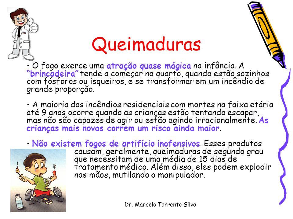 Dr. Marcelo Torrente Silva Queimaduras O fogo exerce uma atração quase mágica na infância. A brincadeira tende a começar no quarto, quando estão sozin