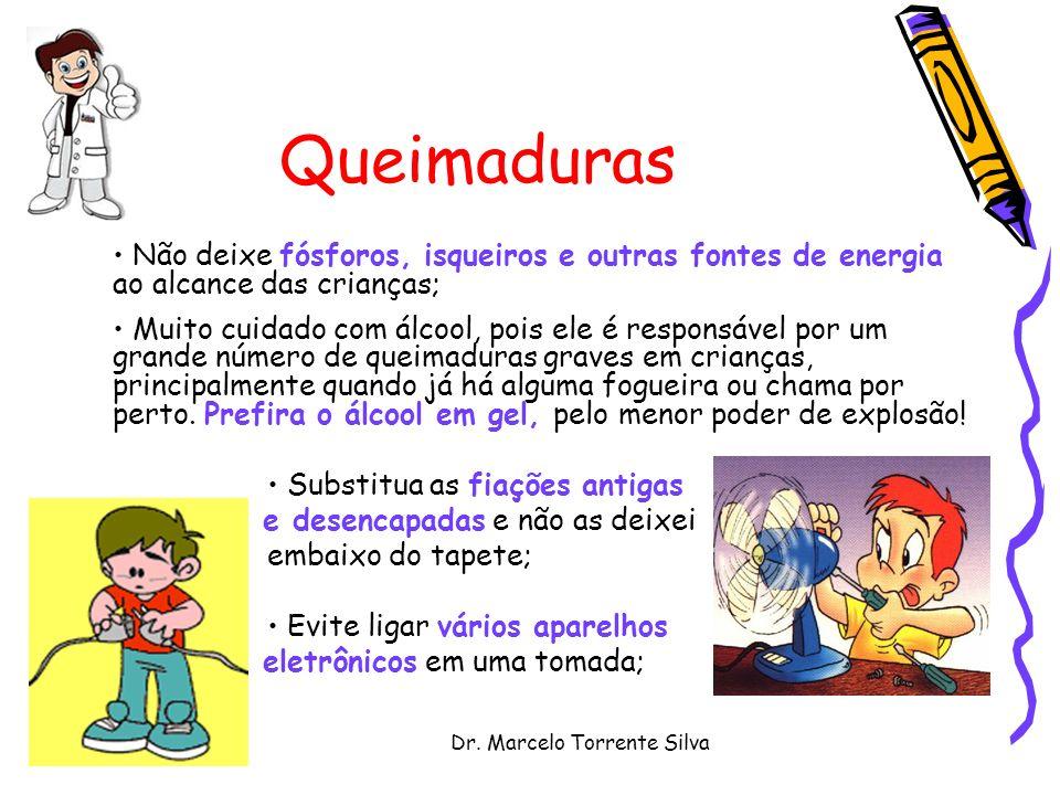 Dr. Marcelo Torrente Silva Queimaduras Não deixe fósforos, isqueiros e outras fontes de energia ao alcance das crianças; Muito cuidado com álcool, poi