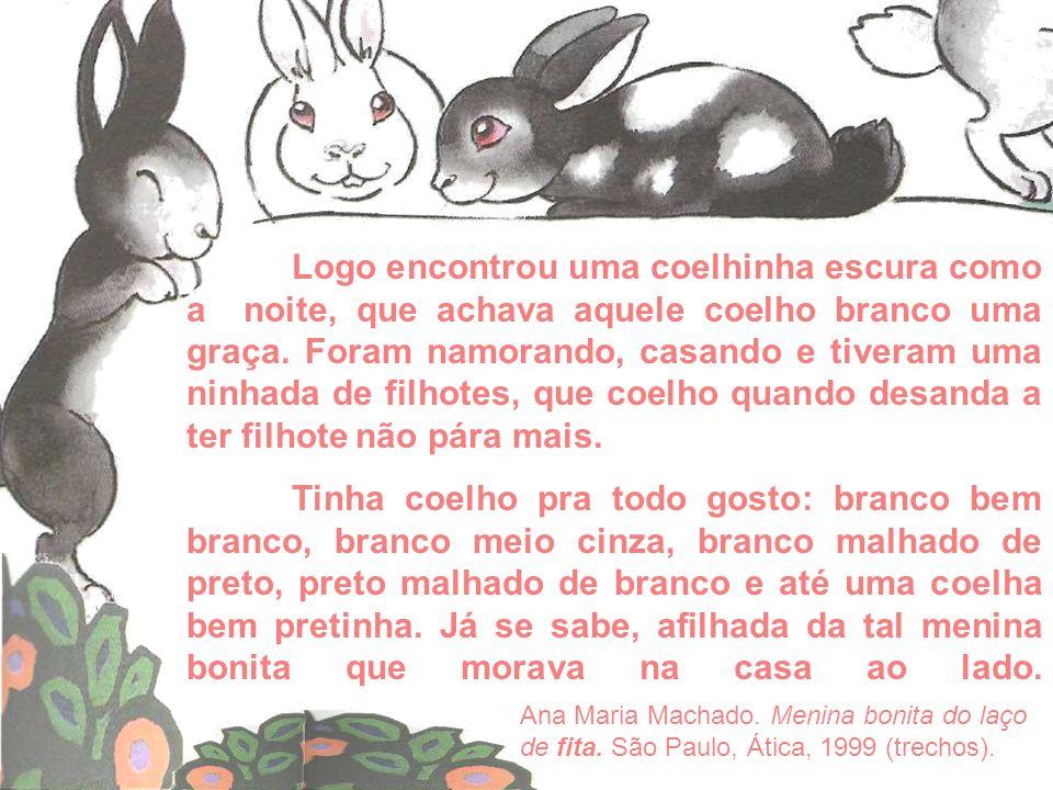 Logo encontrou uma coelhinha escura como a noite, que achava aquele coelho branco uma graça. Foram namorando, casando e tiveram uma ninhada de filhote