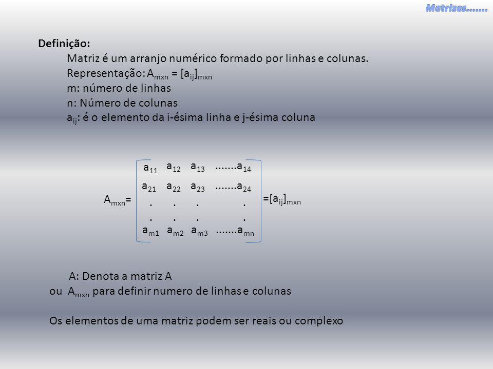 Definição: Matriz é um arranjo numérico formado por linhas e colunas. Representação: A mxn = [a ij ] mxn m: número de linhas n: Número de colunas a ij
