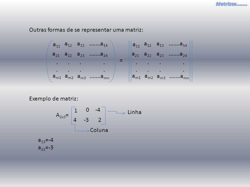Outras formas de se representar uma matriz: a 22 a 21 a 23.......a 24 a 12 a 11 a 13.......a 14 a m2 a m1 a m3.......a mn................ a 22 a 21 a