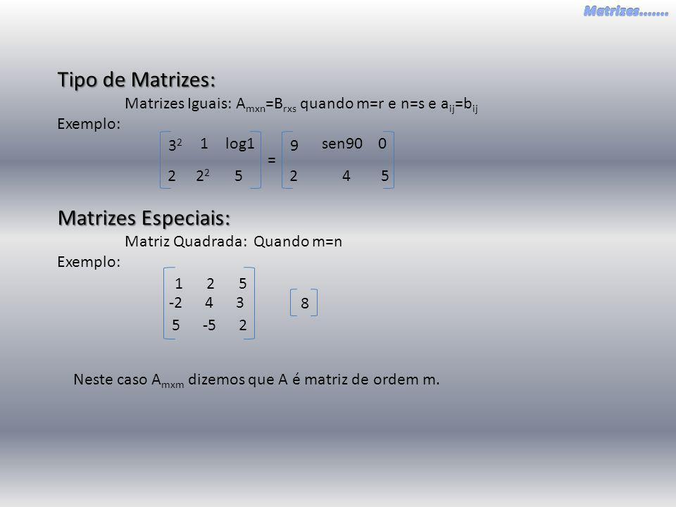 Tipo de Matrizes: Matrizes Iguais: A mxn =B rxs quando m=r e n=s e a ij =b ij Exemplo: 2 2 5 1 3232 log1 42 5 sen90 9 0 = Matrizes Especiais: Matriz Q
