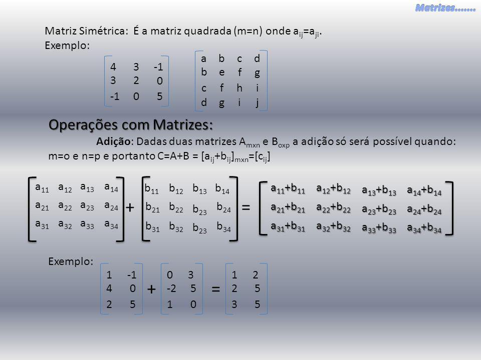 a 22 a 21 a 23 a 24 a 13 a 14 a 32 a 33 a 34 a 31 a 12 a 11 Matriz Simétrica: É a matriz quadrada (m=n) onde a ij =a ji. Exemplo: 23 0 34 0 5 e b f g