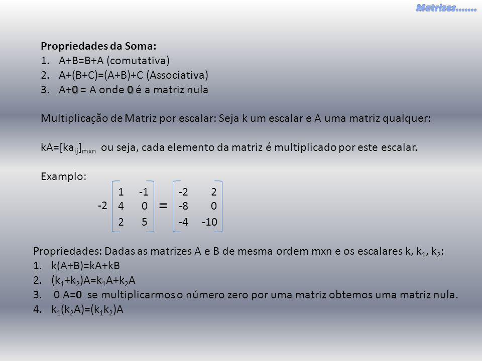 Propriedades da Soma: 1.A+B=B+A (comutativa) 2.A+(B+C)=(A+B)+C (Associativa) 00 3.A+0 = A onde 0 é a matriz nula Multiplicação de Matriz por escalar: