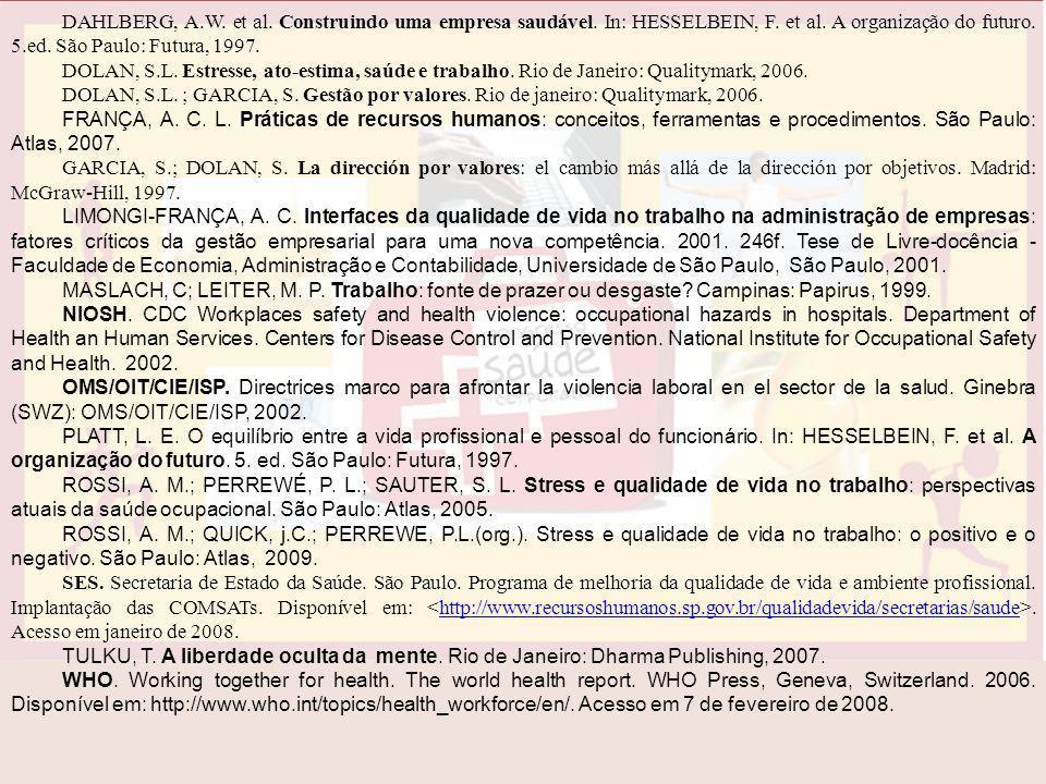 DAHLBERG, A.W. et al. Construindo uma empresa saudável. In: HESSELBEIN, F. et al. A organização do futuro. 5.ed. São Paulo: Futura, 1997. DOLAN, S.L.