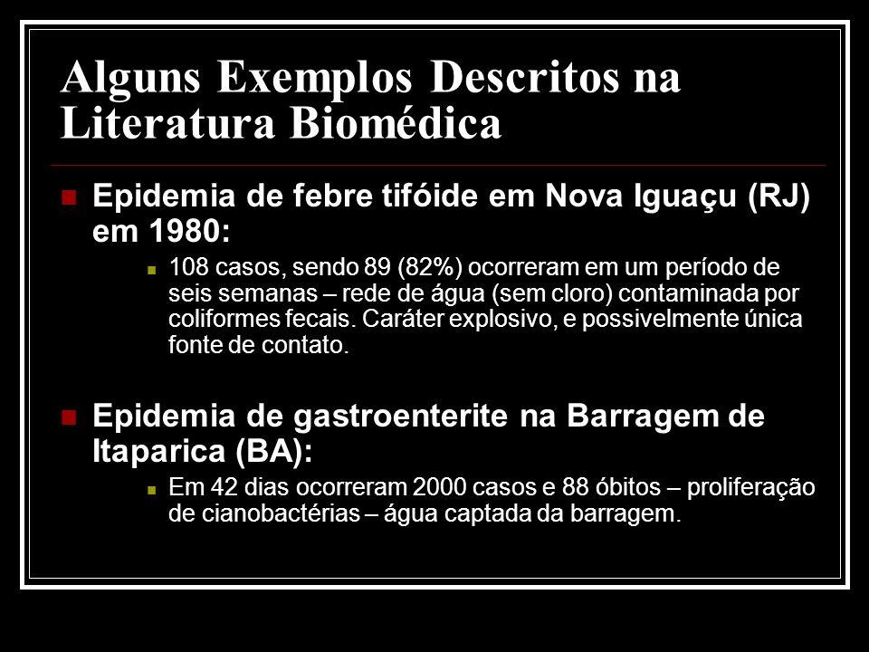 Alguns Exemplos Descritos na Literatura Biomédica Epidemia de febre tifóide em Nova Iguaçu (RJ) em 1980: 108 casos, sendo 89 (82%) ocorreram em um período de seis semanas – rede de água (sem cloro) contaminada por coliformes fecais.