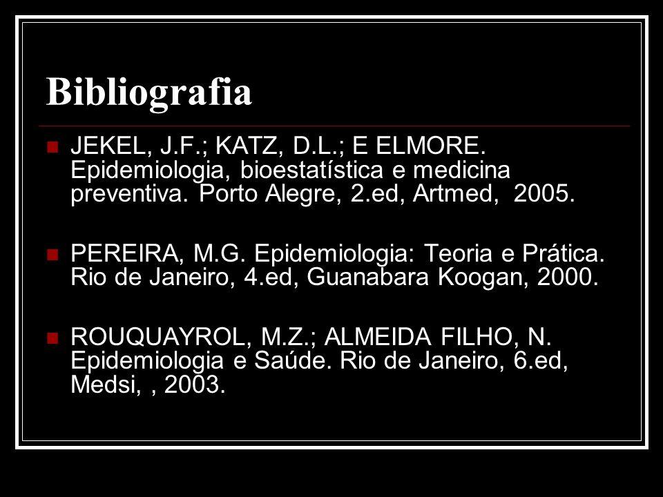 Bibliografia JEKEL, J.F.; KATZ, D.L.; E ELMORE. Epidemiologia, bioestatística e medicina preventiva. Porto Alegre, 2.ed, Artmed, 2005. PEREIRA, M.G. E