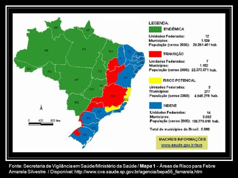 Fonte: Secretaria de Vigilância em Saúde/Ministério da Saúde / Mapa 1 - Áreas de Risco para Febre Amarela Silvestre / Disponível: http://www.cve.saude