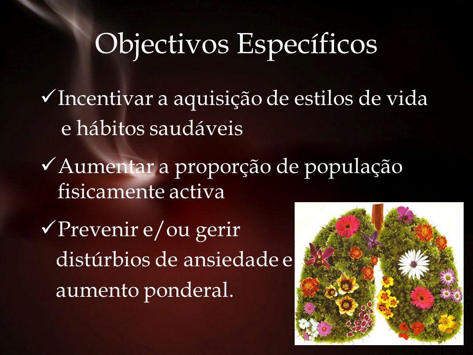 Objectivos Específicos Incentivar a aquisição de estilos de vida e hábitos saudáveis Aumentar a proporção de população fisicamente activa Prevenir e/o