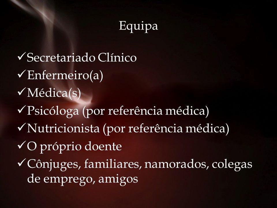 Equipa Secretariado Clínico Enfermeiro(a) Médica(s) Psicóloga (por referência médica) Nutricionista (por referência médica) O próprio doente Cônjuges,
