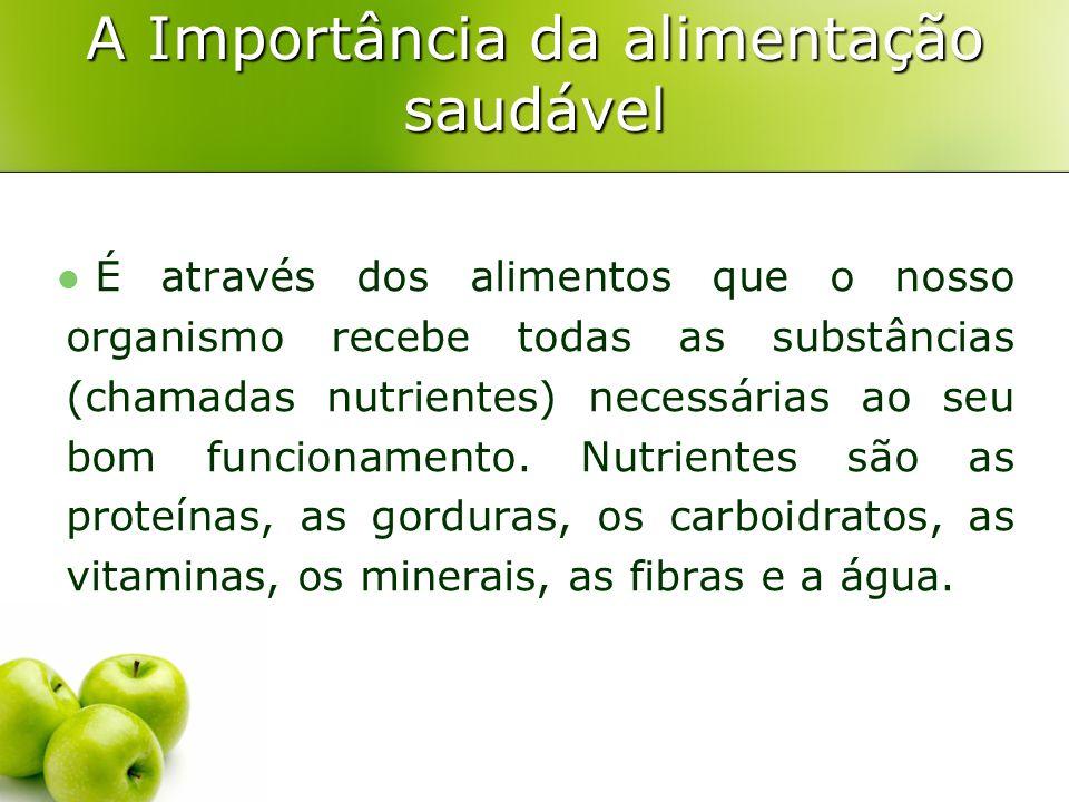 A Importância da alimentação saudável É através dos alimentos que o nosso organismo recebe todas as substâncias (chamadas nutrientes) necessárias ao s