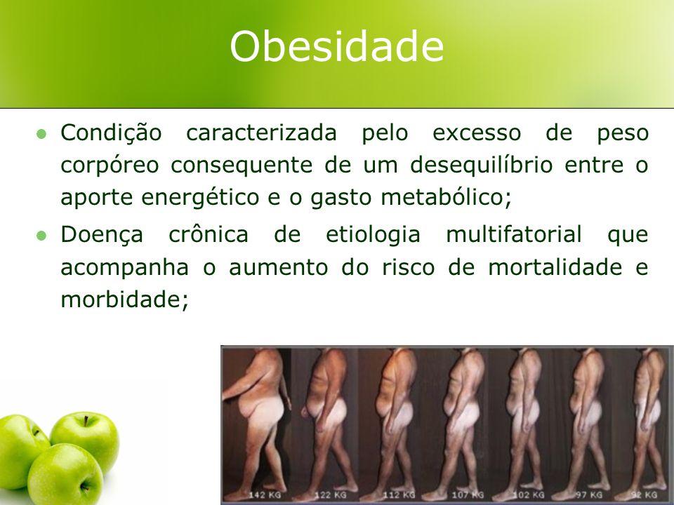 Obesidade Condição caracterizada pelo excesso de peso corpóreo consequente de um desequilíbrio entre o aporte energético e o gasto metabólico; Doença