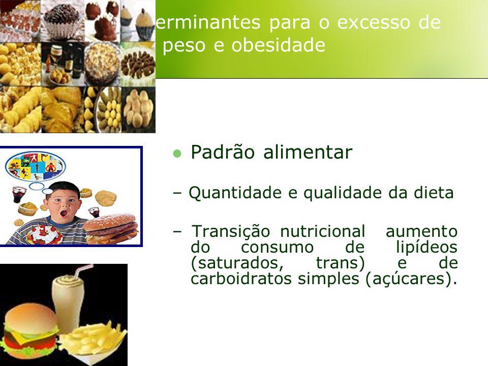 Padrão alimentar – Quantidade e qualidade da dieta – Transição nutricional aumento do consumo de lipídeos (saturados, trans) e de carboidratos simples