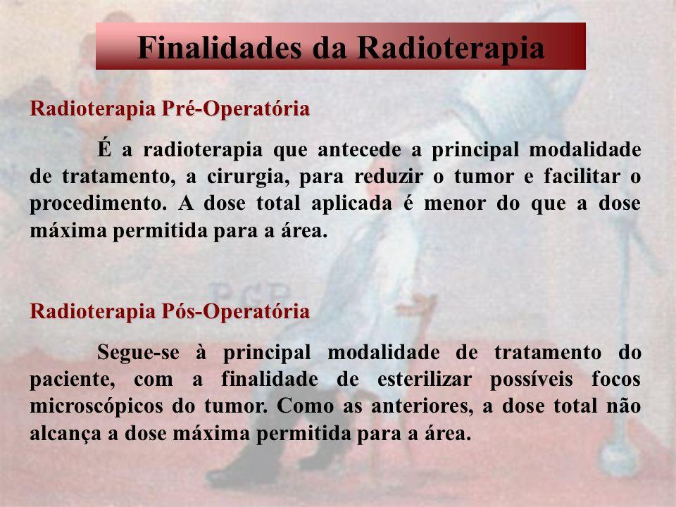 Finalidades da Radioterapia Radioterapia Curativa Consiste na principal modalidade de tratamento e visa a cura do paciente.