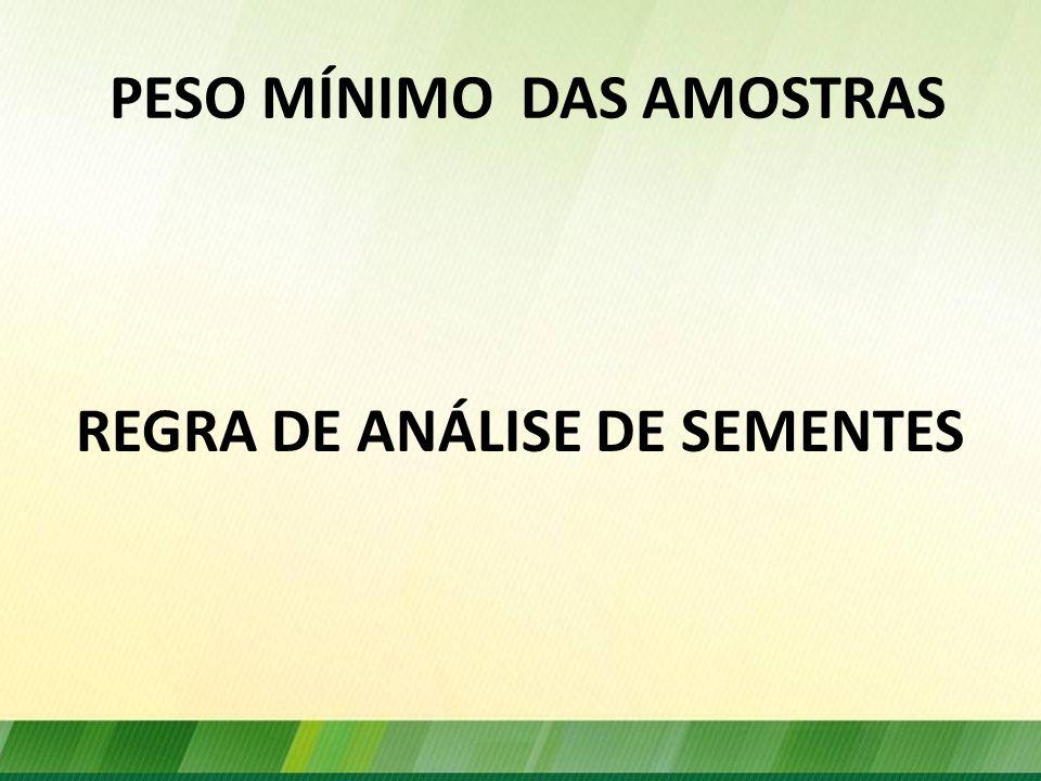 PESO MÍNIMO DAS AMOSTRAS REGRA DE ANÁLISE DE SEMENTES