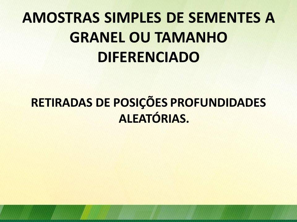 AMOSTRAS SIMPLES DE SEMENTES A GRANEL OU TAMANHO DIFERENCIADO RETIRADAS DE POSIÇÕES PROFUNDIDADES ALEATÓRIAS.