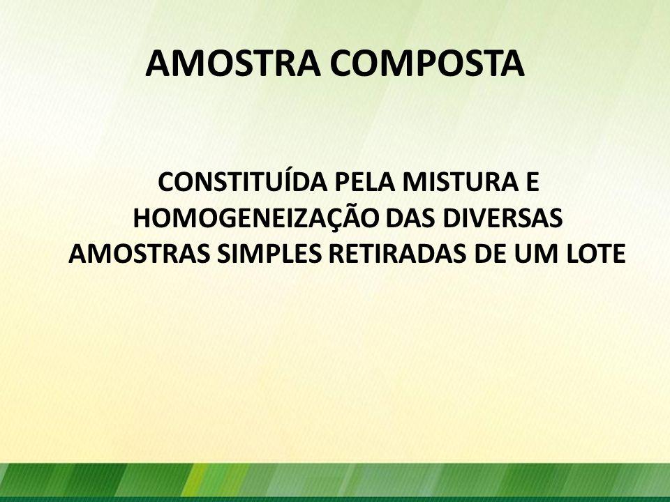 AMOSTRA COMPOSTA CONSTITUÍDA PELA MISTURA E HOMOGENEIZAÇÃO DAS DIVERSAS AMOSTRAS SIMPLES RETIRADAS DE UM LOTE