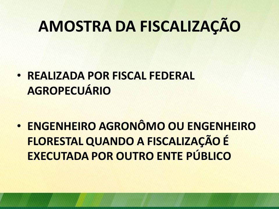 AMOSTRA DA FISCALIZAÇÃO REALIZADA POR FISCAL FEDERAL AGROPECUÁRIO ENGENHEIRO AGRONÔMO OU ENGENHEIRO FLORESTAL QUANDO A FISCALIZAÇÃO É EXECUTADA POR OU