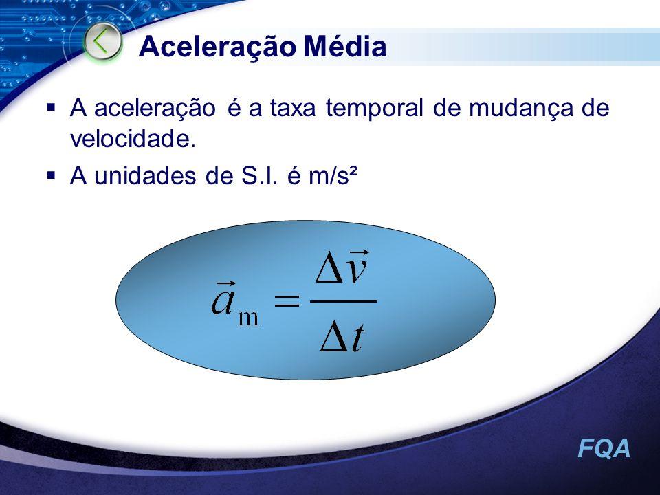 FQA Aceleração Média A aceleração é a taxa temporal de mudança de velocidade. A unidades de S.I. é m/s²
