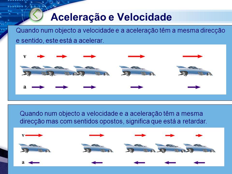 FQA Quando num objecto a velocidade e a aceleração têm a mesma direcção e sentido, este está a acelerar. Aceleração e Velocidade Quando num objecto a