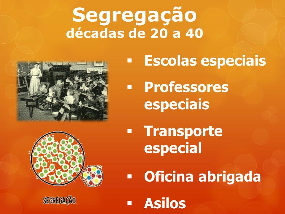 Segregação décadas de 20 a 40 Escolas especiais Professores especiais Transporte especial Oficina abrigada Asilos