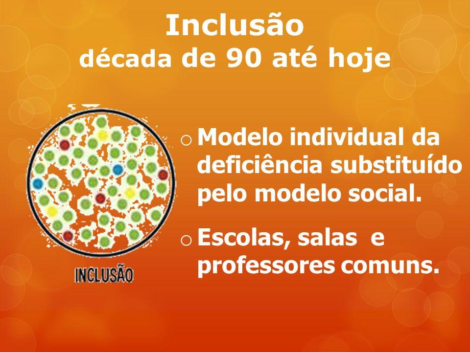 Inclusão década de 90 até hoje o Modelo individual da deficiência substituído pelo modelo social.