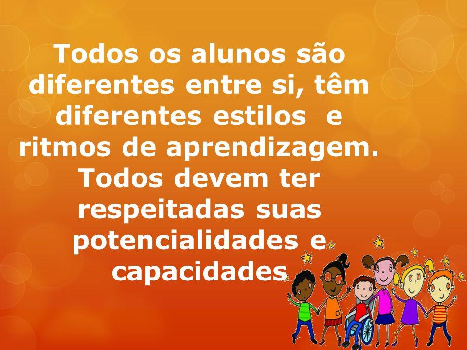 Todos os alunos são diferentes entre si, têm diferentes estilos e ritmos de aprendizagem.
