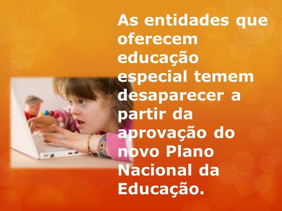 As entidades que oferecem educação especial temem desaparecer a partir da aprovação do novo Plano Nacional da Educação.