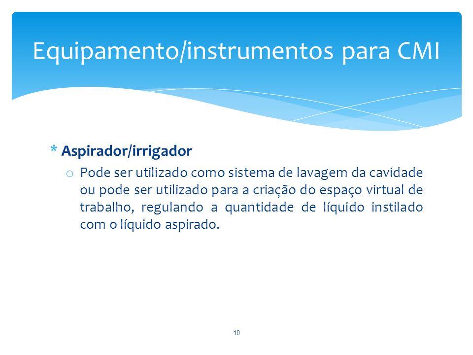 * Aspirador/irrigador o Pode ser utilizado como sistema de lavagem da cavidade ou pode ser utilizado para a criação do espaço virtual de trabalho, reg