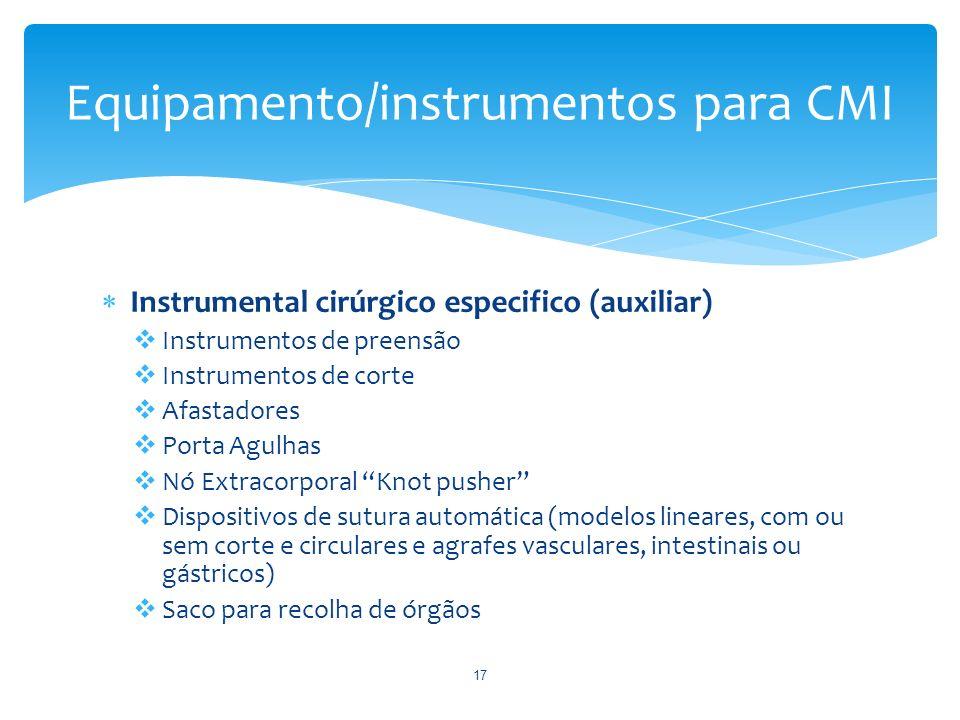 Instrumental cirúrgico especifico (auxiliar) Instrumentos de preensão Instrumentos de corte Afastadores Porta Agulhas Nó Extracorporal Knot pusher Dis