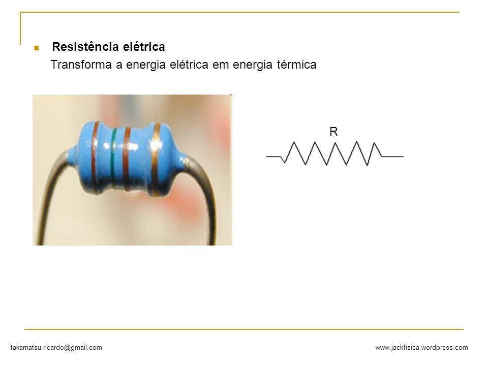 www.jackfisica.wordpress.comtakamatsu.ricardo@gmail.com Resistência elétrica Transforma a energia elétrica em energia térmica R