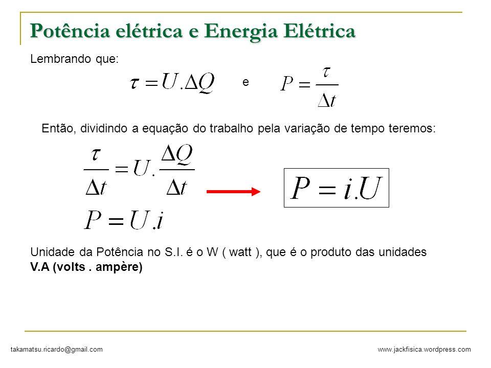 www.jackfisica.wordpress.comtakamatsu.ricardo@gmail.com Potência elétrica e Energia Elétrica Lembrando que: Então, dividindo a equação do trabalho pel