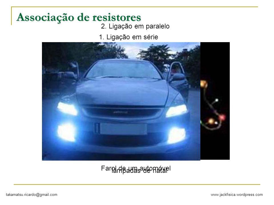 www.jackfisica.wordpress.comtakamatsu.ricardo@gmail.com Associação de resistores 1. Ligação em série lâmpadas de natal 2. Ligação em paralelo Farol de