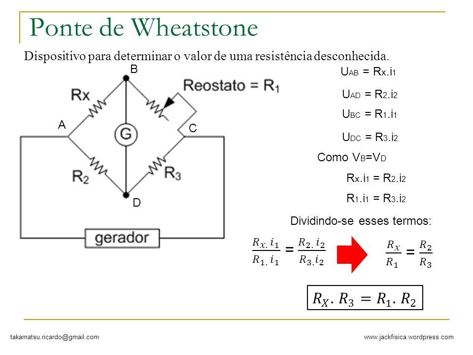 www.jackfisica.wordpress.comtakamatsu.ricardo@gmail.com Ponte de Wheatstone Dispositivo para determinar o valor de uma resistência desconhecida. A B D