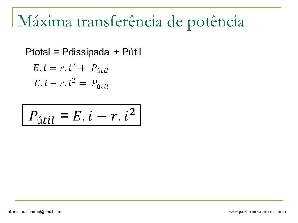 www.jackfisica.wordpress.comtakamatsu.ricardo@gmail.com Máxima transferência de potência Ptotal = Pdissipada + Pútil