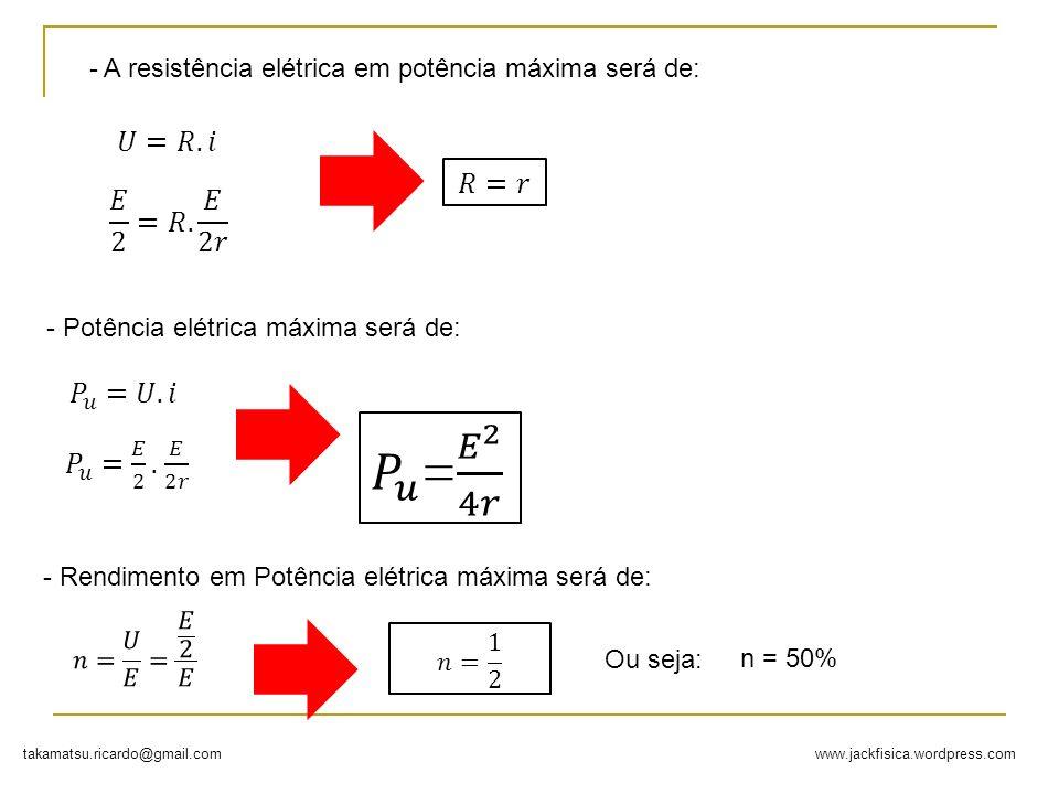 www.jackfisica.wordpress.comtakamatsu.ricardo@gmail.com - A resistência elétrica em potência máxima será de: - Potência elétrica máxima será de: - Ren