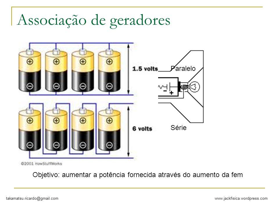 www.jackfisica.wordpress.comtakamatsu.ricardo@gmail.com Associação de geradores Paralelo Série Objetivo: aumentar a potência fornecida através do aume