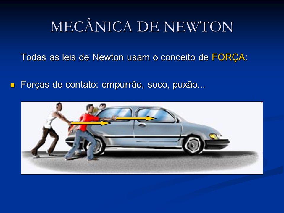 MECÂNICA DE NEWTON Todas as leis de Newton usam o conceito de FORÇA: Forças de contato: empurrão, soco, puxão... Forças de contato: empurrão, soco, pu
