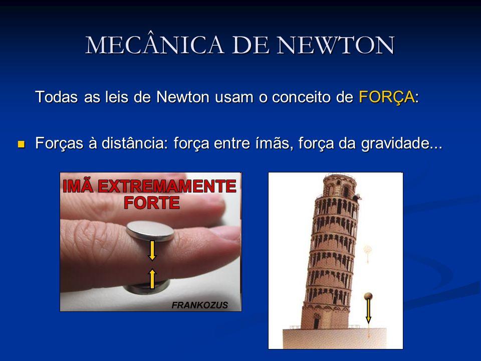 MECÂNICA DE NEWTON Todas as leis de Newton usam o conceito de FORÇA: Forças à distância: força entre ímãs, força da gravidade... Forças à distância: f