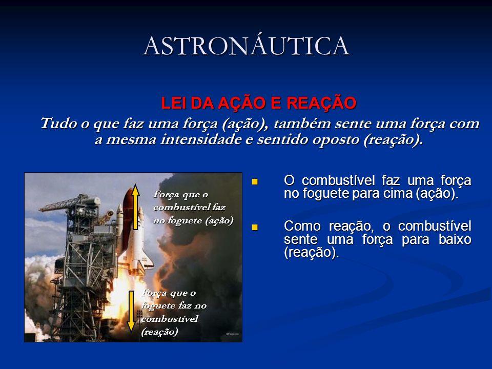 ASTRONÁUTICA O combustível faz uma força no foguete para cima (ação). O combustível faz uma força no foguete para cima (ação). Como reação, o combustí