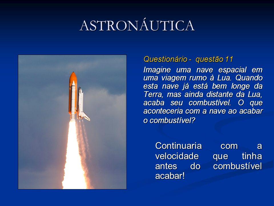 ASTRONÁUTICA Questionário - questão 11 Imagine uma nave espacial em uma viagem rumo à Lua. Quando esta nave já está bem longe da Terra, mas ainda dist